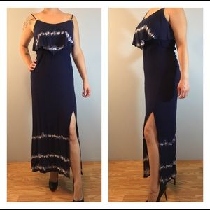 Navy Blue Mudd Maxi Slit Dress With Ruched Waist